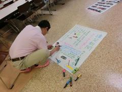 加藤先生も壁新聞を制作中です