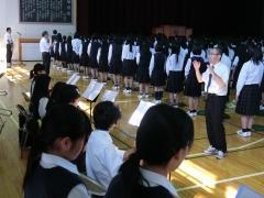 吹奏楽部による校歌演奏